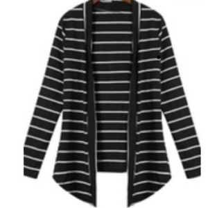 Tops - NWT STRIPED BLACK&WHITE CARDIGAN PATCHWORK SLEEVES